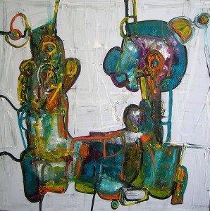 Né au Havre en 1966, Bruno Cantais se consacre au septième art dès l'âge de 18 ans... dans /NOS AMIS ARTISTES/ le-debat-acrylique-80X80-cm-298x300